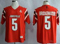 Louisville Cardinals #5 Teddy Bridgewater Red AAC Patch Stitched NCAA Jersey