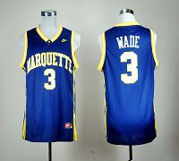 Marquette Golden Eagles #3 Dwyane Wade Blue Basketball Stitched NCAA Jersey