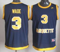 Marquette Golden Eagles #3 Dwyane Wade Navy Blue Basketball Stitched NCAA Jersey