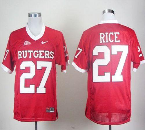 Rutgers Scarlet Knights #27 Ray Rice Red With Big East Patch Stitched NCAA Jersey