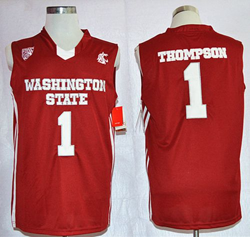 Washington State Cougars #1 Klay Thompson Red Basketball Stitched NCAA Jersey