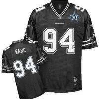 Men's Dallas Cowboys #94 DeMarcus Ware Black Shadow Team 50TH Patch Stitched NFL Jersey