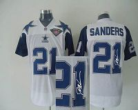 Men's Mitchell And Ness Denver Broncos #21 Deion Sanders Stitched White Blue NFL Autographed Jersey