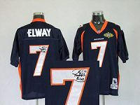 Men's Mitchell And Ness Denver Broncos #7 John Elway Stitched Navy Blue NFL Autographed Jersey