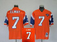 Men's Mitchell And Ness Denver Broncos #7 John Elway Stitched Orange NFL Autographed Jersey