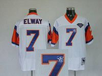 Men's Mitchell And Ness Denver Broncos #7 John Elway Stitched White NFL Autographed Jersey