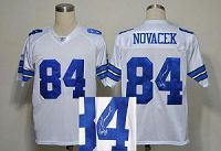Men's Mitchell And Ness Denver Broncos #84 Jay Novacek Stitched White NFL Autographed Jersey