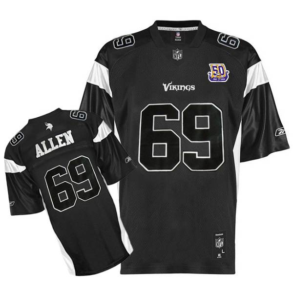 9ca958e05 Minnesota Vikings  69 Jared Allen Black Shadow Team 50TH Patch Stitched NFL  Jersey