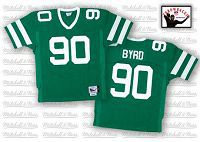 Men's Mitchell And Ness New York Jets Dennis Byrd #90 Stitched Green NFL Jersey
