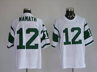 Men's Mitchell And Ness New York Jets Joe Namath #12 Stitched White NFL Jersey