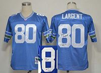 Men's Mitchell And Ness Seattle Seahawks #80 Steve Largent Throwback Stitched Blue Autographed NFL Jersey