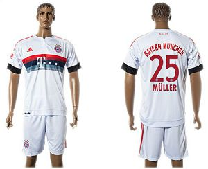 Bayern Munchen #25 Muller Away (White Shorts) Soccer Club Jersey
