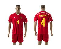 Belgium #4 Kompany Red Home Soccer Club Jersey