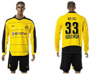 Dortmund #33 Weigl Home Long Sleeves Soccer Club Jersey