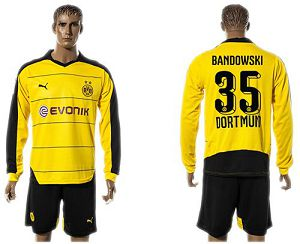 Dortmund #35 Bandowski Home Long Sleeves Soccer Club Jersey