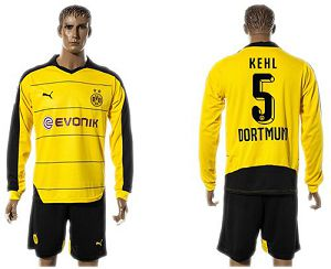 Dortmund #5 Kehl Home Long Sleeves Soccer Club Jersey