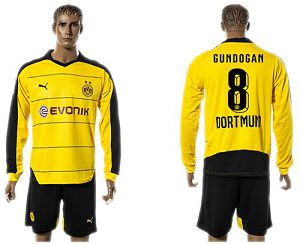 Dortmund #8 Gundogan Home Long Sleeves Soccer Club Jersey