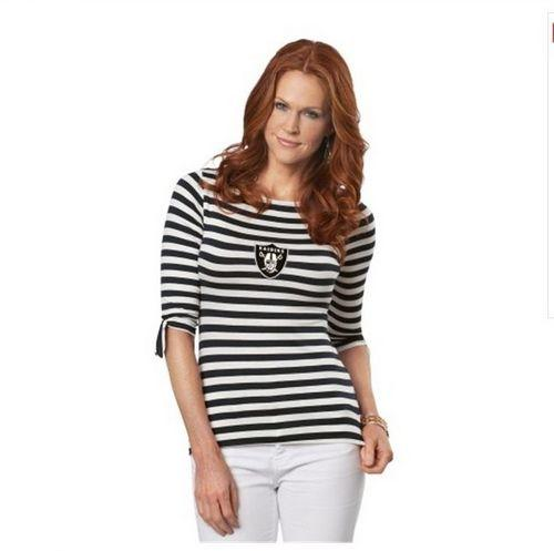 Oakland Raiders Lady Striped Boatneck Three-Quarter Sleeve T-Shirt