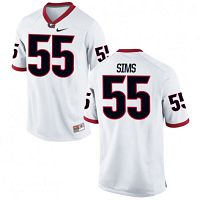 Men's Nike Georgia Bulldogs #55 Dyshon Sims NCAA Stitched Limited White College Football Jersey